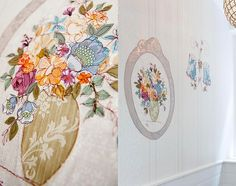 Paris wallpaper- private commission  Vintage wallpaper is embroidered and collaged into frescos.