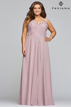 Shop plus-size Faviana formal prom dresses in mauve pink at Simply Dresses. Long designer plus-size dresses, cheap plus-size prom dresses, and plus chiffon gowns with corsets and embroidery. Plus Prom Dresses, Faviana Dresses, Plus Size Formal Dresses, Evening Dresses, Pink Dresses, Long A Line Skirt, Chiffon Gown, Wedding Store, Pageant Gowns