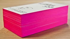 Poppin' pink edge painting on letterpress business cards, printed by Rise and Shine Paper.