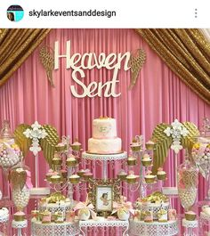 Heaven Sent Baby Shower Dessert Table and Decor