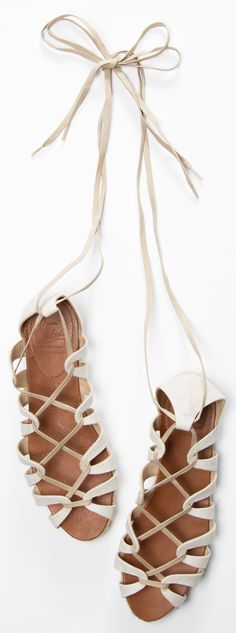 Christian Louboutin Spartacorda Canvas Lace Up Sandals - Yes, Mr. Red Bottoms does create shoes without heels. I know some of you heel lovers are already cringing at the site of this flat espadrille but before you make your judgment, I urge you to try on Shoe Boots, Shoes Sandals, Ankle Boots, Flats, White Sandals, Strappy Sandals, Flat Sandals, Cute Shoes, Me Too Shoes