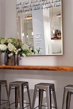 Cafe Plenty | Toronto; writing on a mirror- perhaps vinyl in bathroom...?