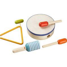 Haba 5997 - Zestaw Rytmiczny z Instrumentami Perkusyjnymi dla Dzieci od lat 2. Haba 5997 zawiera: bębenek, trójkąt, 2 pałeczki, grzechotkę