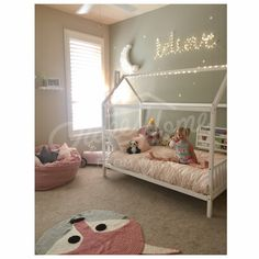 Pink and mint girls room interior, bed house, wood bed, house bed, children bed, toddler bed, children furniture, nursery crib, baby bed, montessori kids teepee frame bed gift
