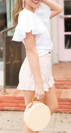 Pink gingham shorts + short bell sleeve top