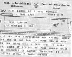 Telegram to Tove Jansson from London Zoo