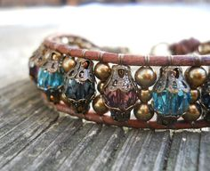 Winter's Benediction / Beaded Leather Wrap Bracelet / by DeLucaArt, $40.00