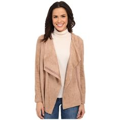 Bobeau Waterfall Faux Suede Jacket Women's Coat ($95) ❤ liked on Polyvore featuring outerwear, coats, bobeau, waterfall coat, faux suede coat and long sleeve coat