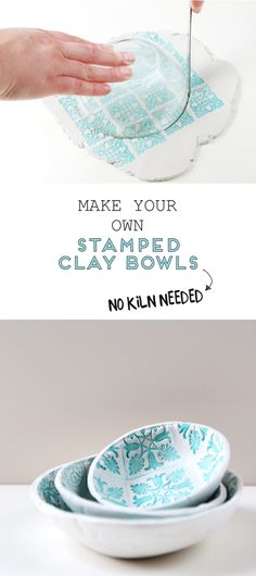learn how to make your own diy stamped clay bowls using air dry clay- no kiln needed! #clay #airdryclay #stamped #stamp #pottery