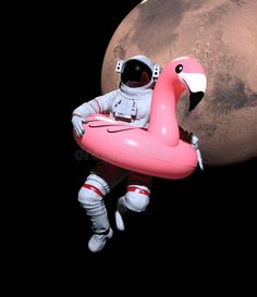 Illustration about Astronaut with Pink Float Looking for Water on Mars - illustration. Illustration of cosmonaut, explorer, astronaut - 143947640 Astronaut Illustration, Astronaut Wallpaper, Aesthetic Space, Retro Futurism, Surreal Art, Galaxy Wallpaper, Wall Collage, Aesthetic Pictures, Aesthetic Wallpapers
