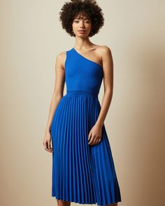 Asymmetric knitted midi dress - Bright Blue | Clothing | Ted Baker Blue Midi Dress, Pleated Midi Skirt, Midi Dresses, Bridesmaid Dresses, Dress Outfits, Casual Dresses, Fashion Outfits, Summer Dresses, Ted Baker