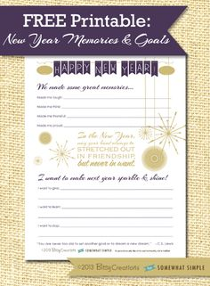 Free New Year memories + resolutions printable from SomewhatSimple! Notebook Paper Printable, Printable Paper, Kids New Years Eve, New Years Party, New Year Printables, Free Printables, Kids News, Happy New Year 2014, Jingle All The Way