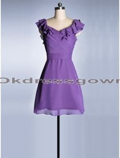 Chiffon Cap Sleeves Cheap Junior Fuchsia bridesmaid dress under 100