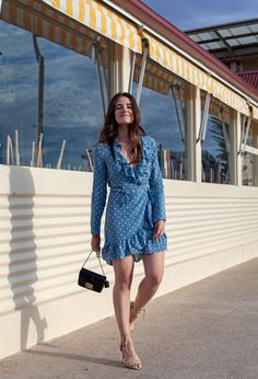 babd3f7eb25b2 Realisation Par the Alexandra dress in dusty blue spot with Furla bag and  nude heels worn by Inspiring Wit blogger Jenelle Witty www.inspiringwit.com