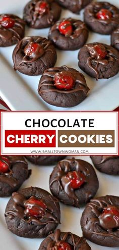 Chocolate Cherry Cookies are fabulous homemade Valentine treats! A soft fudge cookie is topped with a plump sweet maraschino cherry and drizzled with a chocolate fudge sauce. Try this food idea on Valentine's Day! Pin this easy dessert recipe for later!