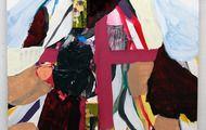 "Benjamin Gardner augur 5, 2013 acrylic, flashe, collage, wood, and graphite on panel 18"" x 18"""