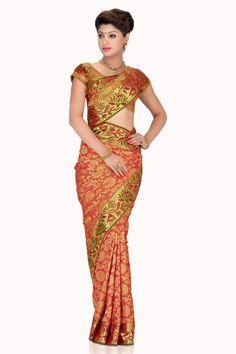 Gorgeous #Red zari weaved pure silk #wedding saree in golden #zari weaved pallu…