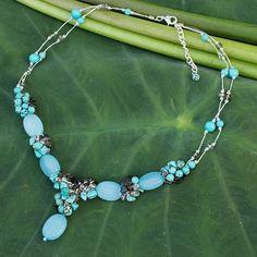 Gemstone beaded necklace, 'Peaceful Sky' - Handmade Beaded Quartz Necklace