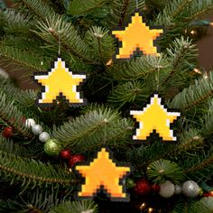 8 Bit Pixel Art Christmas Ornament Stars Set of by adamcrockett