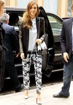 Jessica Alba teamed her Michael Kors blazer with a white blouse and floral trousers as she promoted The Honest Life in New York.