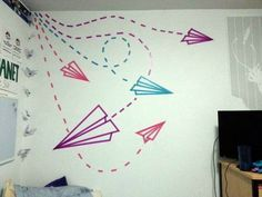Washi Tape Paper Airplane Wall Art.