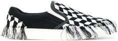 Doublet fringed checkered slip on sneakers