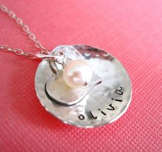 Personalized Hand Stamped Jewelry By HannahDesign - Dainty Heart and Round Pendant with Freshwater Pearl