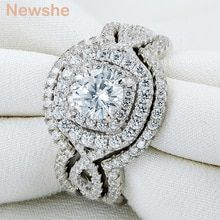 Cheap Price Newshe 925 Sterling Silver Wedding Rings For Women AAA CZ Engagement Ring Set Classic Jewelry Size 5 6 7 8 9 10 Engagement Bands, Engagement Wedding Ring Sets, Engagement Ring Settings, Wedding Bands, Bridal Ring Sets, Bridal Rings, Sterling Silver Wedding Sets, Brautring Sets, Argent Sterling