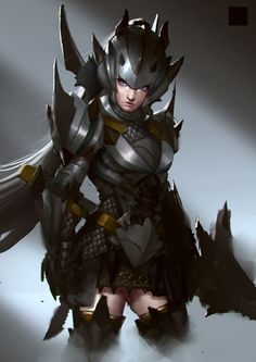 Lovely concept art for a female warrior character. Detail alone is just… ow.
