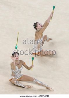 Rio De Janeiro, Brazil. 21st Aug, 2016. The Russian gymnasts compete to win the rhythmic gymnastics group all-around final (Rotation 2) at Rio Olympic Arena at the 2016 Summer Olympic Games. Credit:  Stanislav Krasilnikov/TASS/Alamy Live News - Stock Image