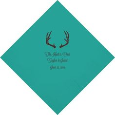 The Hunt is Over themed personalized wedding cocktail napkins