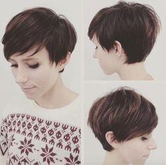 """How to style the Pixie cut? Despite what we think of short cuts , it is possible to play with his hair and to style his Pixie cut as he pleases. For a hairstyle with a """"so chic"""" and pointed… Continue Reading → Pixie Haircut Styles, Short Pixie Haircuts, Curly Hair Styles, Longer Pixie Haircut, Long Pixie Hairstyles, Pixie Styles, Summer Hairstyles, Diy Hairstyles, Pretty Hairstyles"""