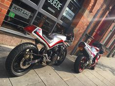 Cafe racers were so last year - welcome to the new era of - PIZZA RACERS ⚡️⚡️ ... Me and my bro over at my pizza joint @suedebar in Nottingham .. @cafekillers @undisputed33 @jjirons . #skon #gsxr #skonstyle #bikersofinstagram #motolife #80s #1980s #rad #streethawk #tattoo #stayrad #bike #80skid #cafekillers #retrowave #lifestyle #fashion #cbx #bikergang #style #art #design #apparel #brand #honda #bikerstyle #independentlabel #retrofuture #moodygrams Cb Cafe Racer, Cafe Racers, Lean Machine, Honda Cbx, Pizza Joint, Classic Motorcycle, Scrambler Motorcycle, Retro Waves, Supersport