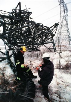 damaged electricity tower