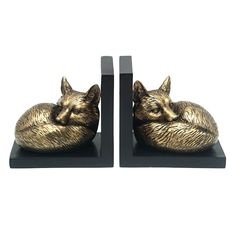 Set Of 2 Aged Gold Fox Bookend | At Home Office Organization, Circle Design, At Home Store, Christmas Birthday, Birthday Wishes, Bookends, Fox, Ariel, Rooms