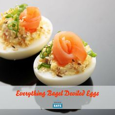 Inspired by everything bagels, these deviled eggs have onion, sesame seed, and caraway seed, along with cream cheese and smoked salmon.