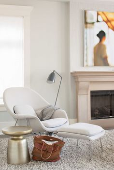 Home Decor. Neutral living room with gold stool, modern lamp, and neutral lounge chair chair living room Dunbar-Southlands House by Terris Lightfoot Contracting Womb Chair, Stool Chair, Transitional House, Floor Cushions, Chair Cushions, Upholstered Chairs, Design Furniture, Luxury Furniture, Furniture Removal