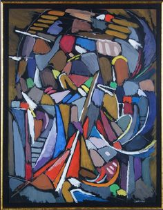 "Andre Lanskoy Description abstract composition. Signed lower right, ""Lanskoy."" Andre Lanskoy (French, Russian 1902-1976). Site: 24"" x 18.5"" ; Frame: 39"" x 22.25"","