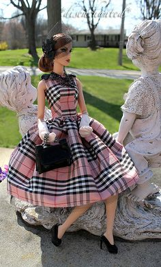 The doll and the larger outdoor yard art is a neat contrast.Barbie and Burberry print Barbie Dress, Barbie Clothes, Barbie Outfits, Fashion Royalty Dolls, Fashion Dolls, Couture Fashion, Chic Chic, Black Barbie, Glamour