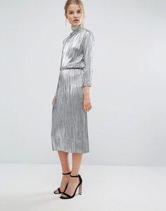 First & I   First & I Metallic High Neck Plisse Midi Dress