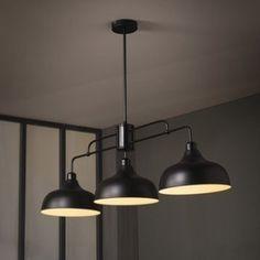 Suspension azal e m tal noir lignes droites ampoule for Numeri adesivi leroy merlin