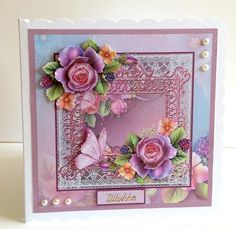 English rose and butterfly 7x7 card with decoupage on Craftsuprint designed by Angela Wake - made by Ulla Skraedderdal - Printed onto a good quality of paper, and cut out the parts. Layered with 3D pads, and decorate it with half pearls. Very beautiful design. - Now available for download!