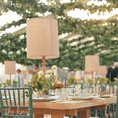 Here's an easy way to light up your reception tables if you're going for a mood lit ambiance: centerpiece lamps! Wedding Reception Planning, Wedding Reception Flowers, Reception Decorations, Floral Wedding, Diy Wedding, Table Decorations, Wedding Ideas, Wedding Inspiration, Wedding Things