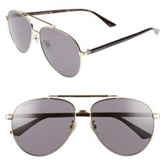 Women's Gucci 61Mm Aviator Sunglasses ($375) ❤ liked on Polyvore featuring accessories, eyewear and sunglasses