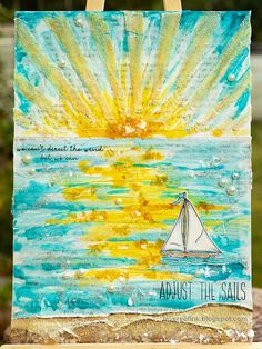 Layers of ink - Sunny Ocean and Beach Mixed Media Scene Tutorial by Anna-Karin Evaldsson. Mixed Media Tutorials, Mixed Media Techniques, Ranger Ink, Distressed Painting, Wave Pattern, Shades Of Yellow, Simon Says Stamp, Tim Holtz, White Paints
