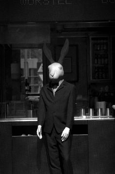 Untitled by Andrzej Pilichowski Ragno Rabbit Life, Rabbit Head, Animal Masks, Animal Heads, Photo Images, My Images, Bunny Sketches, Scary Photography, Rabbit Hutches