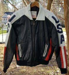 Michael Hoban Wheremi American Flag USA Leather Bomber Jacket L #MichaelHobanWheremi #FlightBomber
