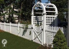 picket fence with gate and arbor