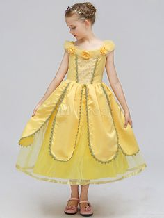 2018 New arrival Beauty And The Beast Belle Princess Dress Yellow Cosplay  Children s Day Costume Performance Dress Clothes 093c18cbbcc6