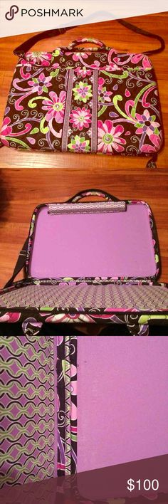 Vera Bradley hard lap top case Good used condition. Flaws are pictured in pic 3. Purple Punch pattern Vera Bradley Bags Laptop Bags